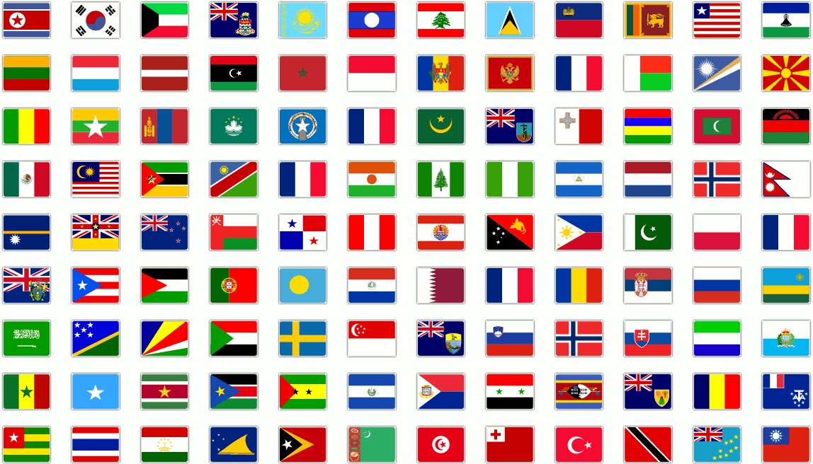 Flags of the languages we can translate to, with over 100